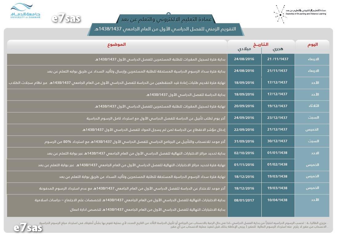 اعلان التقويم الزمني للفصل الدراسي الأول والثاني 1437 1438 ملتقى طلاب وطالبات جامعة الملك فيصل جامعة الدمام